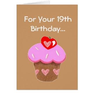 Funny Chocolate Cupcake 19th  Birthday Card