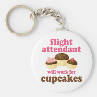 Funny Chocolate Cupcakes Flight Attendant Key Chains