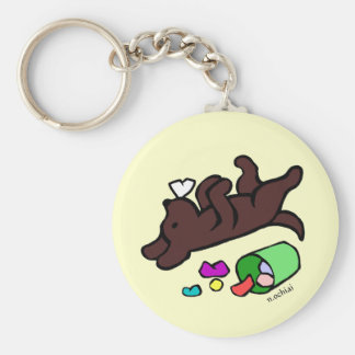 Funny Chocolate Labrador Cartoon Illustration Basic Round Button Key Ring