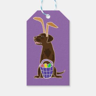 Funny Chocolate Labrador Retriever Easter Art Gift Tags