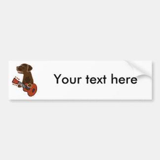 Funny Chocolate Labrador Retriever Guitar Art Bumper Sticker