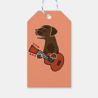 Funny Chocolate Labrador Retriever Guitar Art Gift Tags