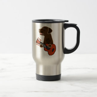 Funny Chocolate Labrador Retriever Guitar Art Travel Mug