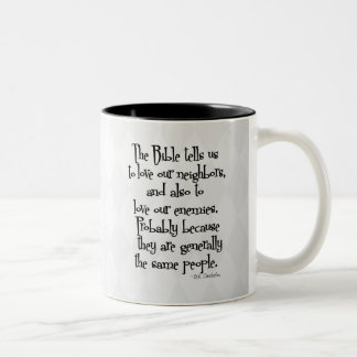 Funny Christian Religious Quote GK Chesterton Two-Tone Coffee Mug