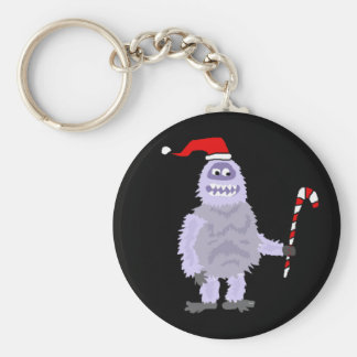 Funny Christmas Abominable Snowman Basic Round Button Key Ring