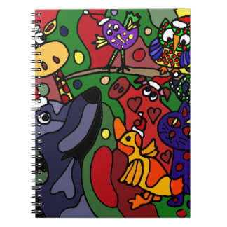 Funny Christmas Animals Abstract Art Original Notebook