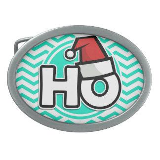 Funny Christmas Aqua Green Chevron Belt Buckles