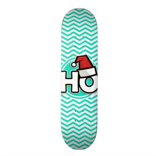 Funny Christmas; Aqua Green Chevron Skateboards