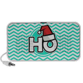 Funny Christmas Aqua Green Chevron Notebook Speaker