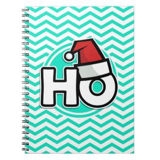 Funny Christmas Aqua Green Chevron Spiral Notebook