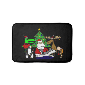 Funny Christmas Art with Santa and Friends Bath Mats