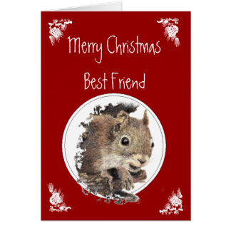 Funny Christmas Best Friend Squirrel Animal Humor Greeting Card