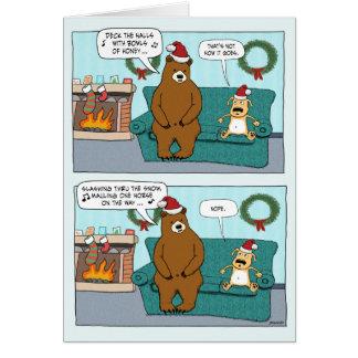 Funny Christmas Card: Bear Carols Card