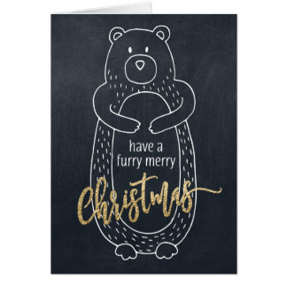 Funny Christmas Card Bear Chalkboard