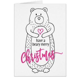 Funny Christmas Card Cute Bear White Pink