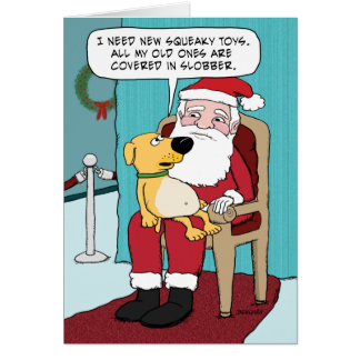 Funny Christmas Card: Dog and Santa Greeting Card