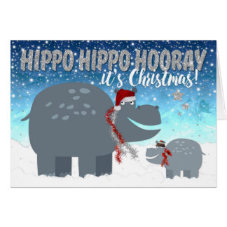 Funny Christmas Card - Happy Hippos