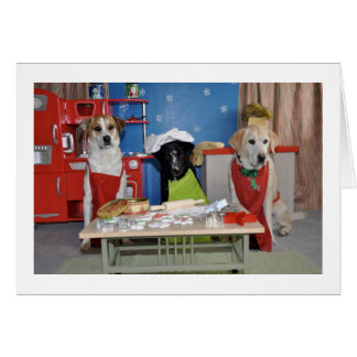 Funny Christmas card, photo of 3 dogs baking Card