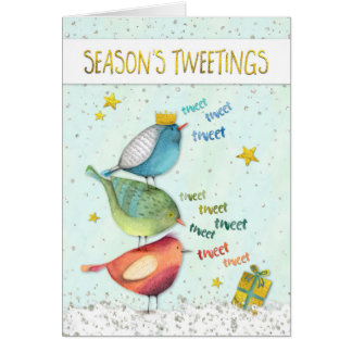 Funny Christmas Card - Seasons Tweetings