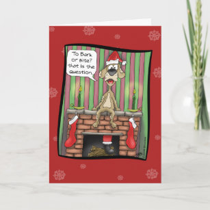 funny christmas cards guard dog on duty holiday card - Unusual Boxed Christmas Cards