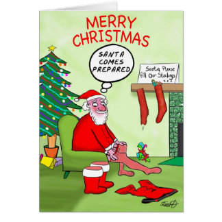 Funny Christmas Cards: Santa's Stocking Card