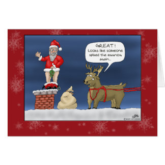 Funny Christmas Cards: Spiked the Eggnog Greeting Card