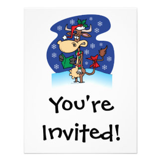 funny christmas caroling cow cartoon personalized announcement