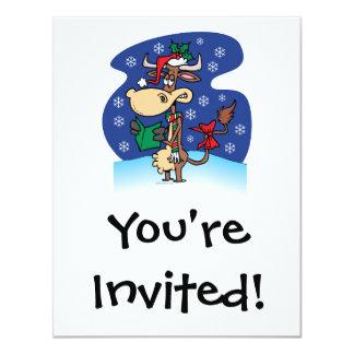 funny christmas caroling cow cartoon 11 cm x 14 cm invitation card