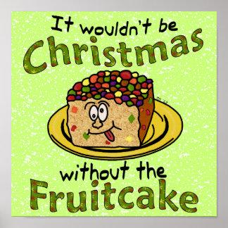 Funny Christmas Cartoon Fruitcake Poster