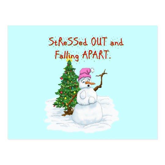 Funny Christmas cartoon of lady snowman Postcard