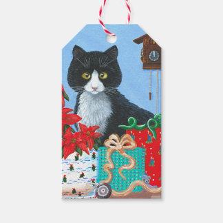 Funny Christmas Cat Black Tuxedo Cuckoo Clock