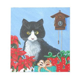 Funny Christmas Cat Black Tuxedo Cuckoo Clock Notepads