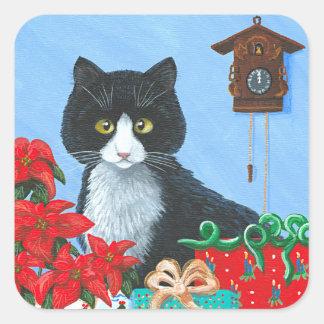 Funny Christmas Cat Black Tuxedo Cuckoo Clock Square Sticker