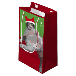 Funny Christmas Cat with Santa Hat Small Gift Bag