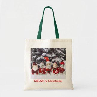 Funny Christmas Cats Budget Tote Bag