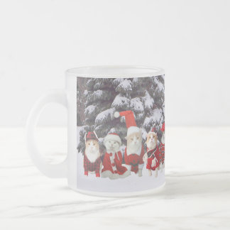 Funny Christmas Cats Frosted Glass Mug