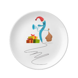 Funny Christmas character cartoon Porcelain Plate