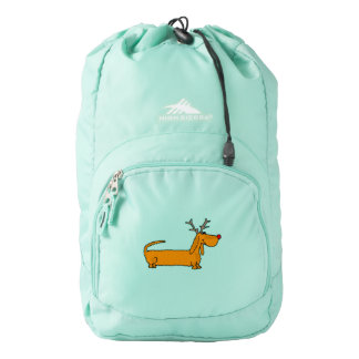 Funny Christmas Dachshund Reindeer Backpack