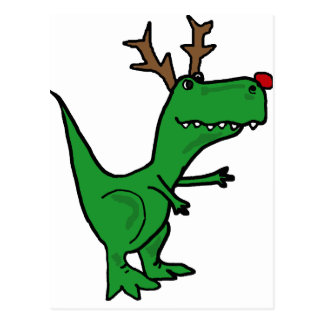 Funny Christmas Dinosaur as Reindeer Postcard