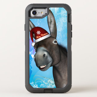 Funny christmas donkey with christmas hat OtterBox defender iPhone 7 case