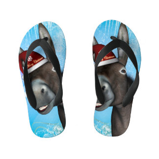 Funny christmas donkey with christmas hat thongs