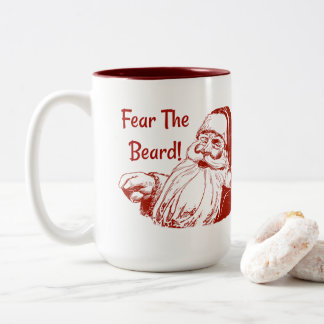 Funny Christmas Fear The Beard Santa Two-Tone Coffee Mug