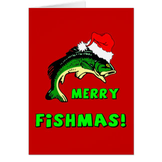 Funny Christmas fishing Greeting Card