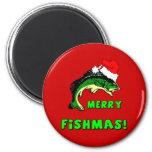 Funny Christmas fishing Refrigerator Magnets