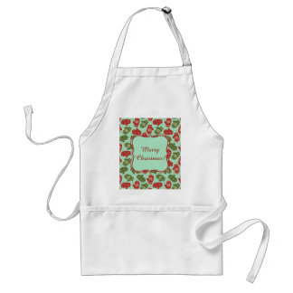 Funny Christmas Gloves and snowflakes green bg Standard Apron