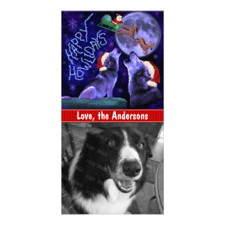 Funny Christmas Happy Howlidays Wolf Pun Pet Dog Personalised Photo Card