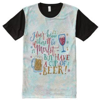 Funny Christmas Merlot Wine Beer Humor Typography All-Over Print T-Shirt
