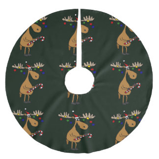 Funny Christmas Moose Tree Skirt Brushed Polyester Tree Skirt