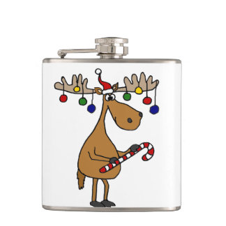 Funny Christmas Moose with Ornaments Hip Flask