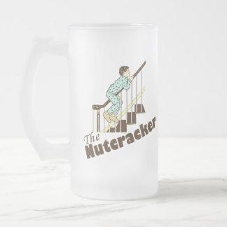 Funny Christmas Nutcracker Frosted Glass Beer Mug